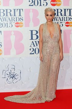 Rita Ora in a spring 2015 Zuhair Murad Couture dress at the 2015 Brit Awards. Rita Ora, Trey Songz, Calvin Harris, Big Sean, Ryan Gosling, Zuhair Murad, Nicki Minaj, Celebrity Red Carpet, Celebrity Style