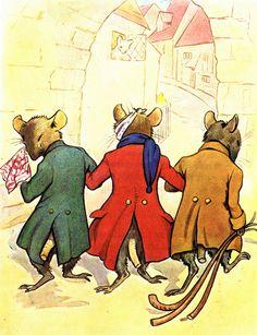 Three Blind Mice, by Margaret Winifred Tarrant Three Blind Mice, Mouse Illustration, Fairytale Art, House Mouse, Kids Corner, Nursery Rhymes, Childrens Books, Illustrators, Fairy Tales