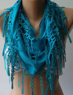 Ocean Blue  Elegance Shawl / Scarf with Lace Edge by womann. Love scarf detail and love color!