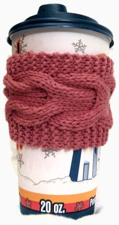 Rose Cup Cozy, Pink Tea Sleeve, Coffee Cup Cozy, Knitted Cabled, Berry Strawberry Raspberry Romantic Girly, Bridal Party. $8.00, via Etsy.