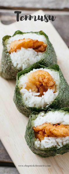 TENMUSU  ==INGREDIENTS==   2c uncooked rice 2 seaweed sheets 1 tsp salt 8 prawns Oil for frying Tempura Batter 50 g plain flour 15 g tsuyu (or ½ tsp salt instead) 10 g Japanese mayonnaise 50 g ice cold water  ========