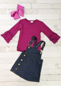 Any tutus and accessories shown are not included. Toddler Boutique Clothing, Wholesale Children's Boutique Clothing, Girls Boutique, Cute Girl Outfits, Trendy Outfits, Cut Out Leggings, Half Saree Designs, Denim Overall Dress, Babies Clothes