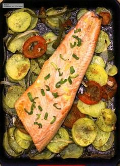 Cocina – Recetas y Consejos Salmon Recipes, Fish Recipes, Seafood Recipes, Cooking Recipes, Healthy Recipes, Fish Dishes, Seafood Dishes, Vegetarian Recepies, Spanish Dishes