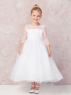 b4e61ca3bc7 Girls Dress Style 5724- Three Quarter Length Sleeve Lace and Tulle Dress In  Choice of Color