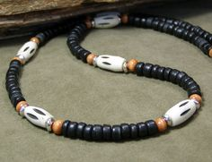 Mens Necklace  Wood Necklace  Beaded Necklace  by StoneWearDesigns