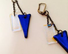 Blue Moon Dichroic glass and brass earrings. - Edit Listing - Etsy