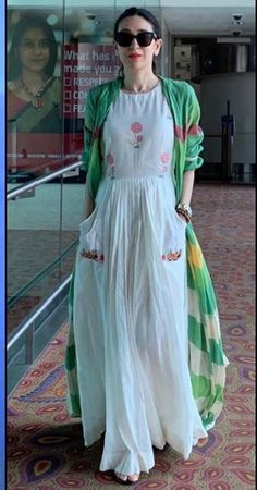 Dresses - Beautiful fine khadi dress with dyed jacket Kurta Designs, Blouse Designs, Pakistani Outfits, Indian Outfits, Indian Attire, Indian Fashion Dresses, Hippy Chic, Frack, How To Pose