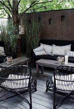 Garden Tuin Inspiration Inspiratie Terras Patio Black Zwart Wicker Lounge ♥️ #Fonteyn
