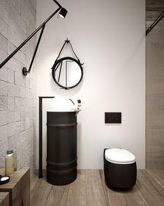 Czarny i metal - częste zestawienie w przypadku industrialnych łazienek. Drewno fajnie ociepla wnętrze :)