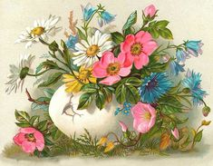 Vintage Easter card egg & flowers