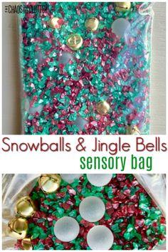 A simple holiday sensory activity Snowballs and Jingle Bells sensory bag for kids.