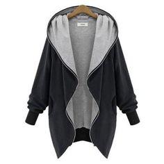 New Fashion 2016 Women Autumn Winter Warm Sweatshirts Casual Solid Hooded Zipper Hoodies Coat Plus Size S-5XL
