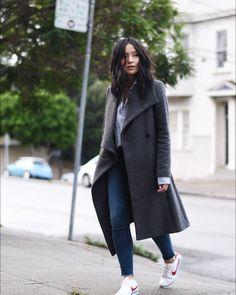 48 Trendy how to wear nike cortez casual Sneaker Outfits, Nike Outfits, Winter Outfits, Casual Outfits, Fashion Outfits, Winter Looks, Mein Style, Winter Stil, Wrap Coat