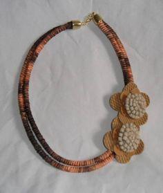 Colar de corda e flores | Arte Criativa | 316E4E - Elo7