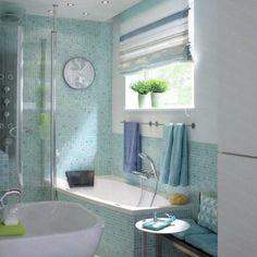 Bad Fliesen Glas Mosaik Hellblau Vintage Spiegelrahmen Bathroom - Badrenovierung fliesen überkleben