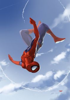 I really like how the artist captures Spidey's grace in movement. Spider-Man by Yvan Quinet Amazing Spiderman, All Spiderman, Spiderman Poses, Batman, Superman, Marvel Comics, Marvel Art, Marvel Heroes, Captain Marvel