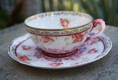 Taza de té de Wheelock rara ~ taza de té Imperial Baviera ~ taza de té antigua ~ bávaro ~ floral pintado a mano de flores pintado a mano ~ modernista de 1900