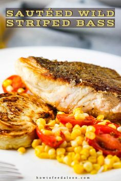 {sponsored} This Sautéed Wild Striped Bass from the iconic seafood market Citarella, is absolutely to die for. Paired perfectly with sautéed corn and tomato salad and roasted fennel. Perfection on a plate! Seafood Dishes, Seafood Recipes, Fish Dishes, Main Dishes, Entree Recipes, Side Dish Recipes, Striped Bass Recipe, Grilled Swordfish Steaks, White Fish Recipes