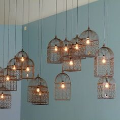 Lamps GOMA Matisse exhibition cafe design The hanging lights are a constant theme The post Lamps appeared first on Design Ideas. Deco Design, Cafe Design, House Design, Design Design, Interior Design, Hanging Bird Cage, Bird Cages, Birdcage Light, Birdcage Lamp