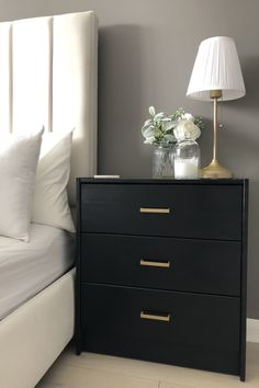 black bedroom furniture This post is a step by step guide of how to create these black and gold bedside tables, using the simple pine Ikea Rast chest of drawers Bedside Table Decor, Bedside Table Design, Black Bedside Tables, Ikea Rast Nightstand, Bedside Table Makeover, Bedside Table Styling, Black Nightstand, Ikea Chest Of Drawers, Bedroom Decor
