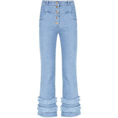 Flow The Label High Waisted Flare Jeans (429 410 LBP) ❤ liked on Polyvore featuring jeans, blue, high waisted jeans, high-rise flared jeans, high-waisted jeans, blue jeans and high waisted blue jeans