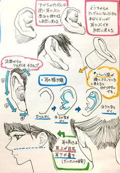 Manga Drawing Tips 吉村拓也氏による耳と非イケメンの描き方のコツ Anatomy Drawing, Manga Drawing, Drawing Practice, Figure Drawing, Anatomy Reference, Drawing Reference, Drawing Techniques, Drawing Tips, Tutorial Draw