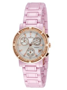 Women's Pink Ceramic & Crystal Watch by Invicta Watches at Gilt