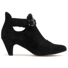 PEARSON- This slip on boot has elastic straps around the ankle and a decorative zip and buckle to enhance its appearance. Slip On Boots, Black Ankle Boots, Cropped Pants, Chelsea Boots, Looks Great, Zip, Legs, Winter, Shoes