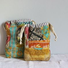 kantha quilted drawstring bags