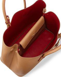 Prada Saffiano Cuir Medium Double-Pocket Tote Bag, Camel (Caramello)