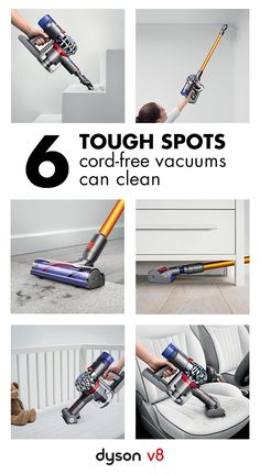 Go cord-free and tackle your toughest cleaning jobs. Whether you need to clean up high or down low, the Dyson V8 vacuum is up for the task. Quickly convert to a handheld and reach hard to maneuver areas like the stairs or car.