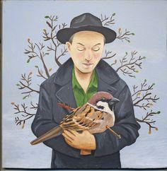 Album cover artwork for Rob Snarski's 'Wounded Bird' 2014 acrylic on wood Sandra Eterovic