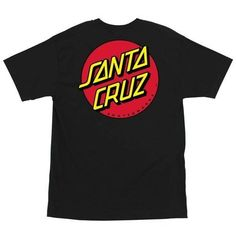 Santa Cruz Mens Classic Dot Regular Short-Sleeve ShirtAvailable in black, and white100% CottonRegular fit tshirt with front print, large back printFabric Type: KnittedMaterial: 90% Cotton/ 10% Polyest