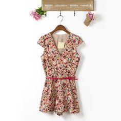 2013 New Fashion and Elegant Women V-Neck Flower Print short sleeve chiffon Jumpsuit Free Shipping L6 $15.97