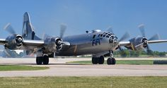 "Still the only flying B-29 Superfortress, ""FIFI"" thunders into town."