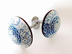Vintage Curtain Tiebacks, Two (2) Classic Blue and White Porcelain Medallion Drapery Holdbacks - Curtain Wall Holders