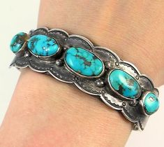 NAVAHO OLD PAWN MORENCI TURQUOISE CUFF