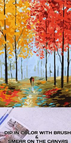 Now bring the painter in you come to life by creating this Autumn Chimes Paint By Number Kit. Small Canvas Art, Easy Canvas Painting, Mini Canvas Art, Spring Painting, Fall Tree Painting, Autumn Art, Autumn Trees, Landscape Art, Landscape Paintings