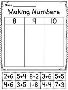math worksheet : addition on a number line  differentiated  inspired in second  : Decomposing Numbers Kindergarten Worksheets