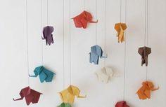 Bastelideen aus Papier baby mobilee elefanten