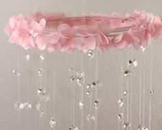 Crystal Baby Mobile Pink Baby Mobile Flower Baby by TheMobileMaven, $90.00 seems simple enough to make!