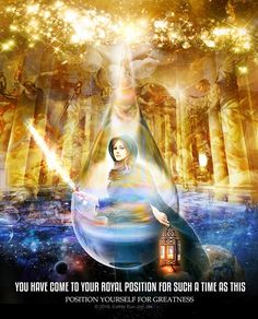 Woman with sword of spirit and lamp of God prophetic art with quote You have come to your royal position for such a time as this.