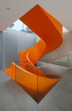Modern Staircase Design in Casa Blanca, Asia District, Peru, 2015 - Martin Dulanto Sangalli (more pics on the site) Stairs Architecture, Residential Architecture, Interior Architecture, Orange Architecture, Gothic Architecture, Interior Stairs, Interior And Exterior, Interior Design, Orange Interior