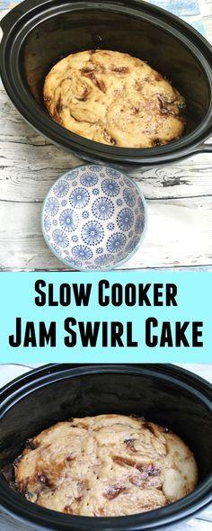 Slow Cooker Jam Swirl Cake - try this tasty dessert right away!