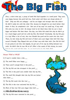 The big fish in a small pond - English ESL Worksheets for distance learning and physical classrooms English Stories For Kids, Short Stories For Kids, English Story, English Lessons, Learn English, Kids English, Reading Comprehension Activities, Reading Worksheets, Reading Passages
