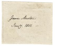 This paper scrap, bearing Jane Austen's handwriting, sold for $40,000 at auction in June 2014. EA.