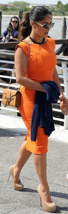 Salma Hayek:  Shoes – Yves Saint Laurent    Purse – Gucci    Dress – Roland Mouret