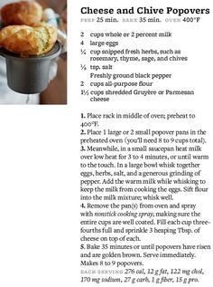 Corn, Buttermilk And Chive Popovers Recipe — Dishmaps