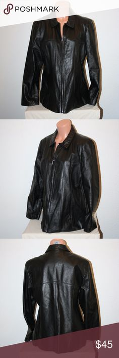 """WILSONS Leather XL Black Jacket Coat Zip Front Wilsons Leather  Excellent Condition - No Stains or Holes  Jacket or Coat  Black  Two Front Pockets  Zip Front  Lined  Fitted Seams in Front and Back  Lined  XL     Chest:  43"""" (armpit to armpit, then doubled)  Sleeve Length:  24""""  Length:  28 1/2""""  Shoulder to Shoulder:  17 1/4""""  Shell:  100% Leather  Body Lining:  50% Acetate and 50% Nylon  Sleeve Lining:  100% Nylon Wilsons Leather Jackets & Coats"""