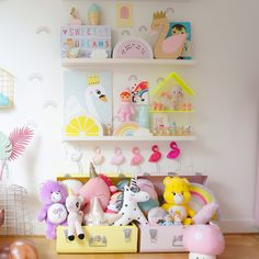 Pastel amazingness, a lovely Shelfie for a girls bedroom featuring my ombré flamingoes and carebears!! 😍 thanks to Kidsdesignlife for an amazing capture, #swan #nursery #kidsbedroom #flamingo #carebears #unicorns #shelfie #kidsshekfie #kidsdesignlife #icecream #kidspo #interiordesign #girlsroom #pastelbedroom #pastels #alittlelovelycompany #lightbox #rainbows #girlsnursery